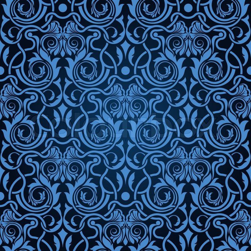 Blue Seamless Wallpaper Pattern Stock Vector Colourbox