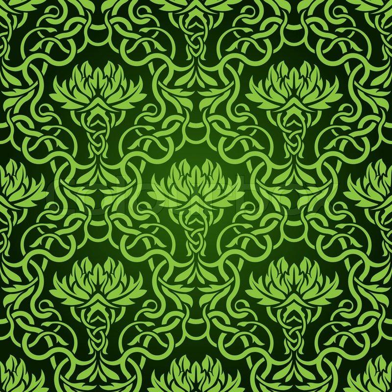 Green seamless wallpaper pattern | Stock Vector | Colourbox
