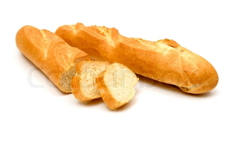 Fresh Baguette Sliced Isolated On White Background Stock Photo