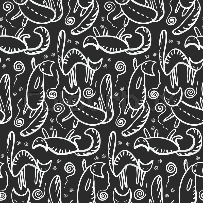 Monochrome Seamless Pattern With White Outline Cats Silhouette Whiskers Paws And Knotted Clews On Black Doodle Kittens Texture For Textile