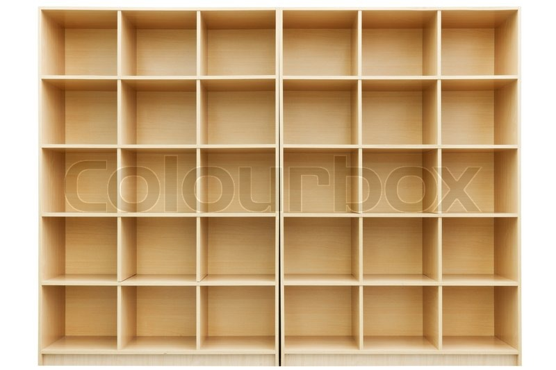 shelves small wooden box with cells isolated on white. Black Bedroom Furniture Sets. Home Design Ideas