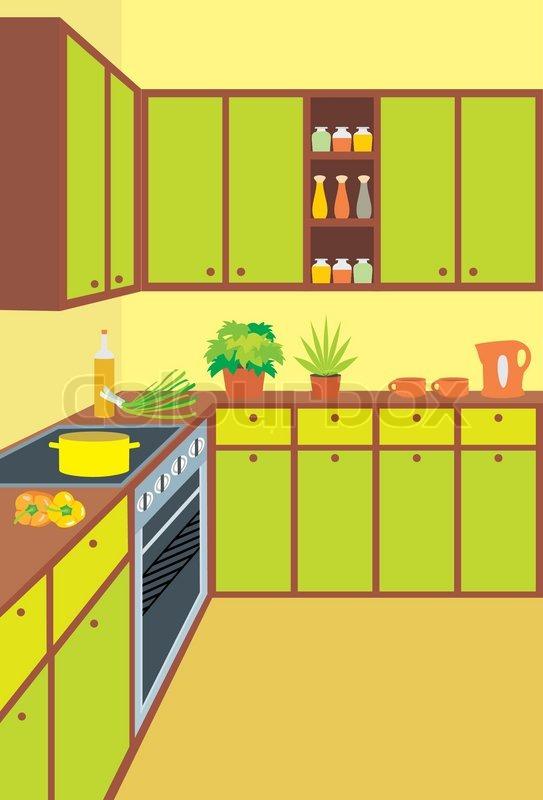 Kitchen Furniture Interior Stock Vector Colourbox