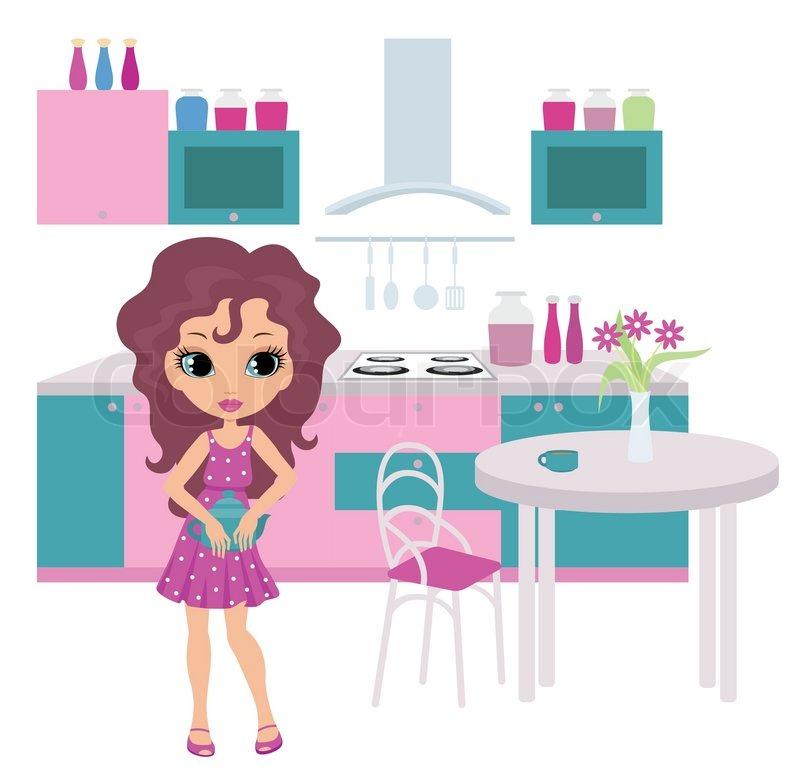 Cartoon Girl On Kitchen Bears A Teapot Stock Vector