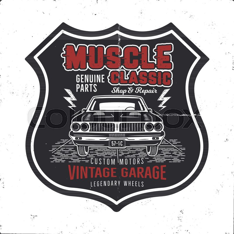 Vintage hand drawn muscle car t shirt     | Stock vector
