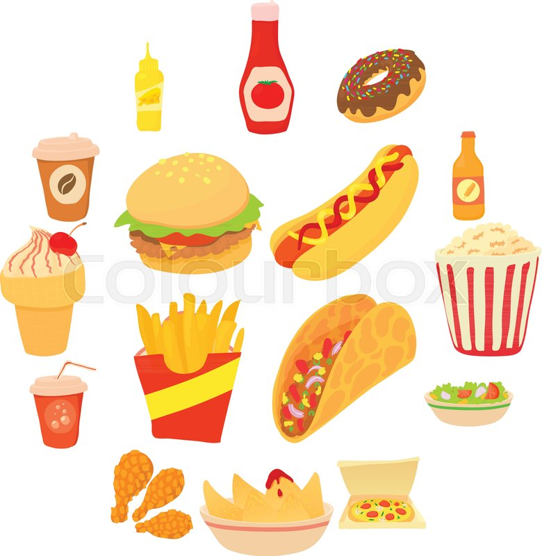Fast Food Icons Set Cartoon Stock Vector Colourbox