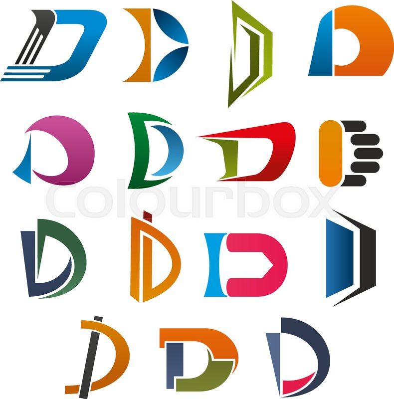 d symbol set of abstract capital letter font orange blue red and green figures in shape of d alphabet character isolated icon for business identity