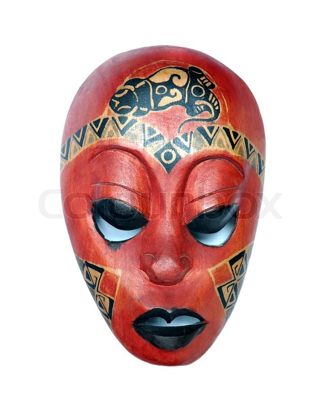 african mask on a white background stock photo colourbox