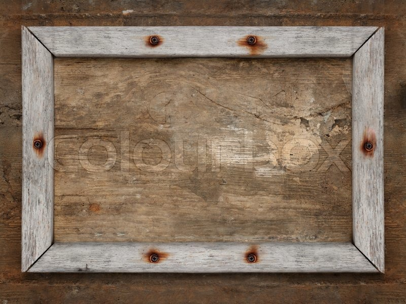 Old wooden frame on brown dirty aged wall | Stock Photo | Colourbox