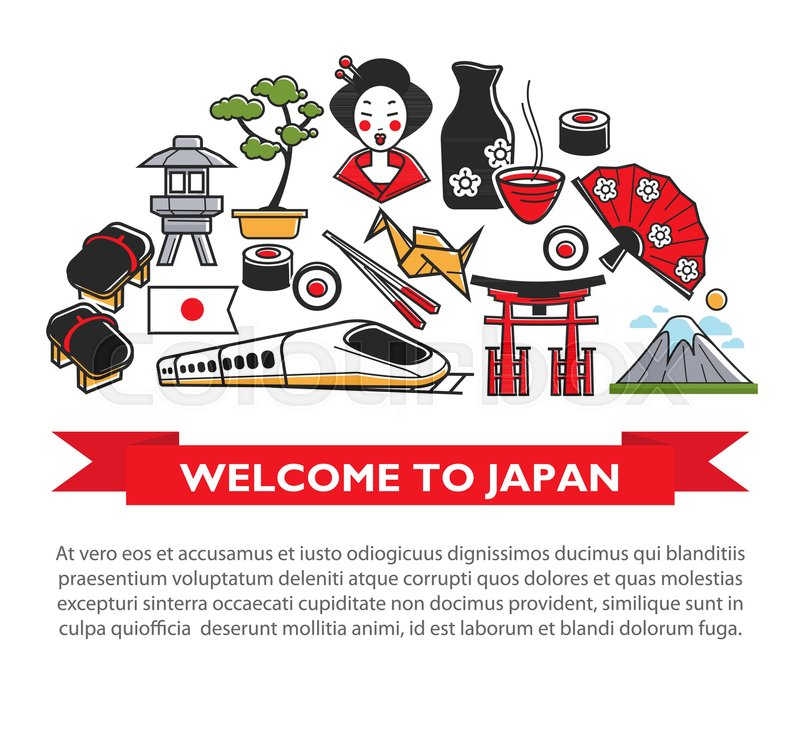 Welcome To Japan Travel Poster Of Japanese Famous Landmark Symbols