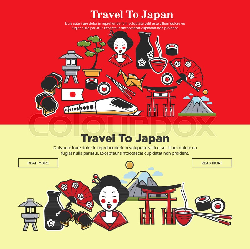 Japan Travel Web Banners Of Japanese Famous Landmark Symbols And