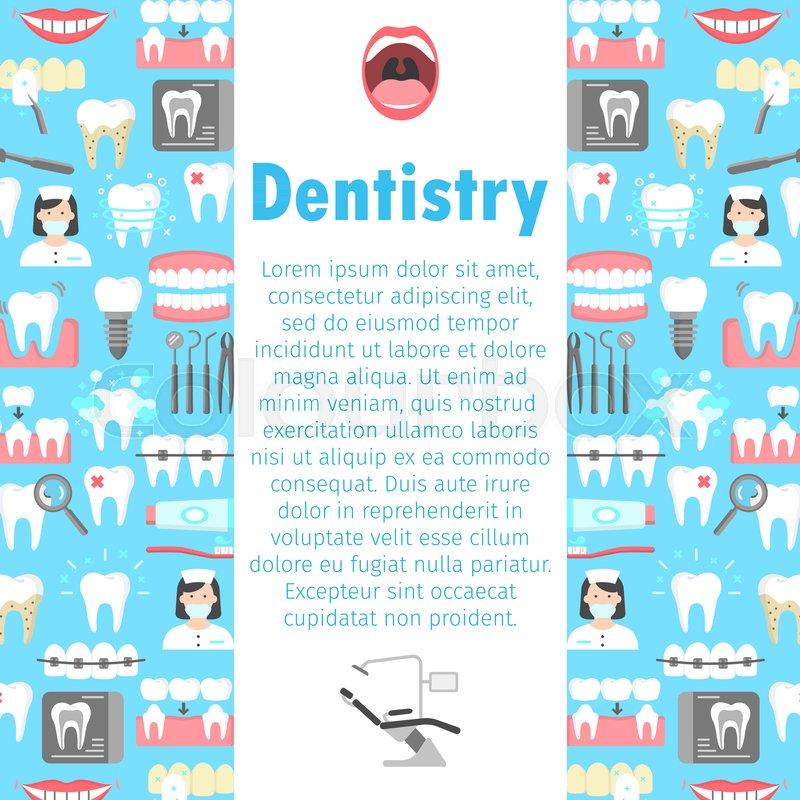Dental Clinic Poster Dentistry Orthodontics Flat Symbols Vector