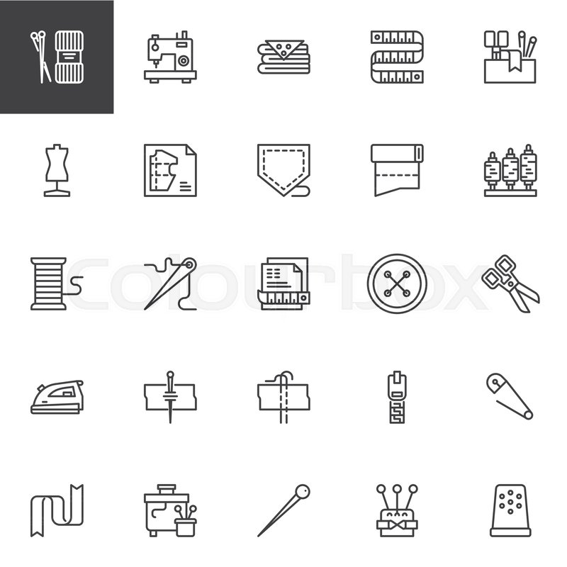 Sewing Outline Icons Set Linear Style Symbols Collection Line