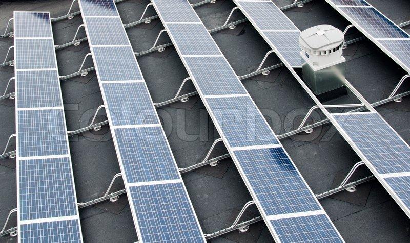 Solar sun panels for green energy, stock photo