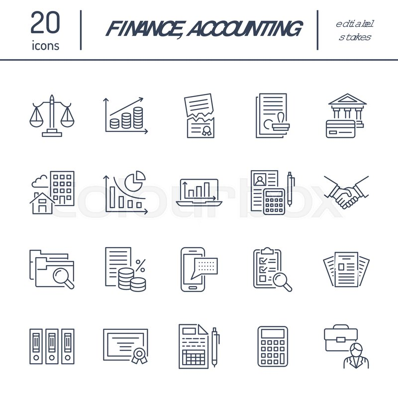 Financial accounting flat line icons      | Stock vector