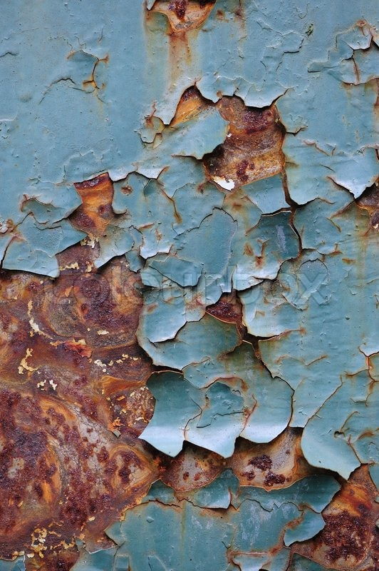 Detail Of An Old Metal Wall Rust And Cracked Paint