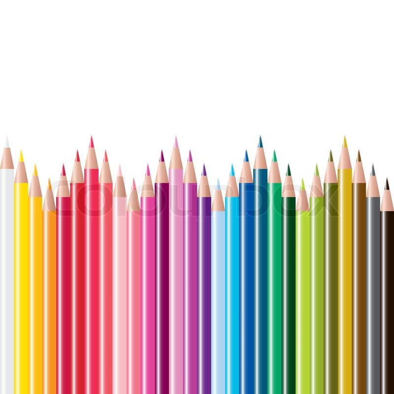vector set of colored pencils stock vector colourbox