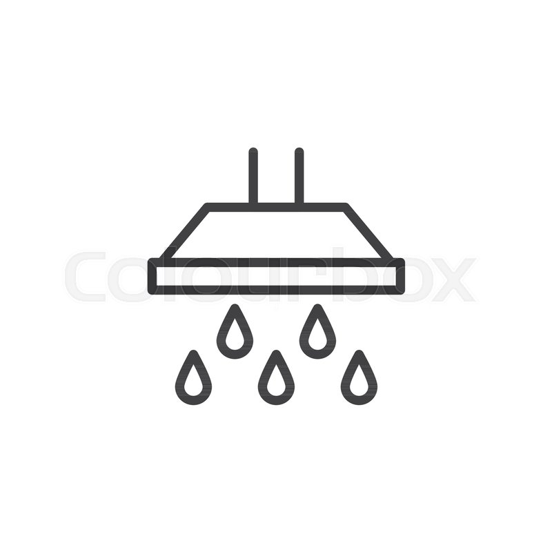 Shower Head And Large Water Drops Falling Outline Icon Linear Style
