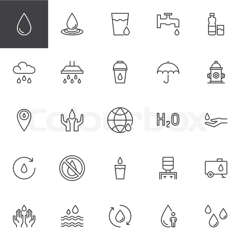 Water Outline Icons Set Linear Style Symbols Collection Line Signs