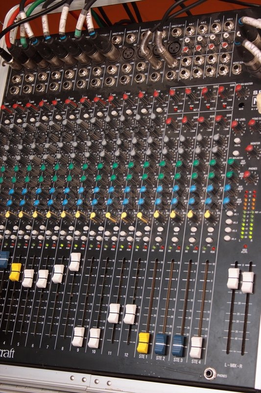Buttons equipment in audio recording studio, stock photo