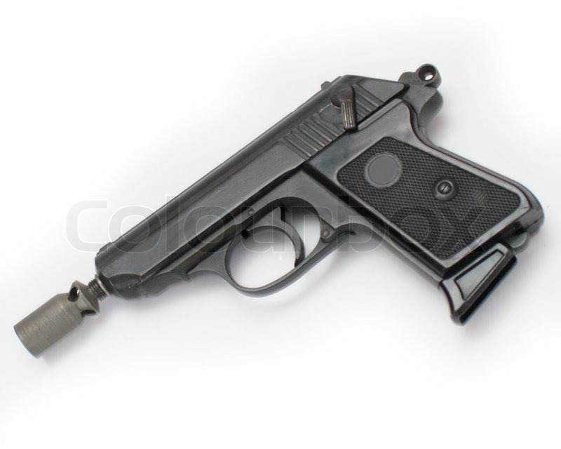 Pistol With A Silencer On A White Background Stock Photo Colourbox
