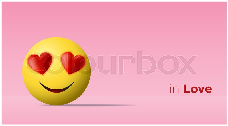 Emotional background with yellow face in love emoji , vector