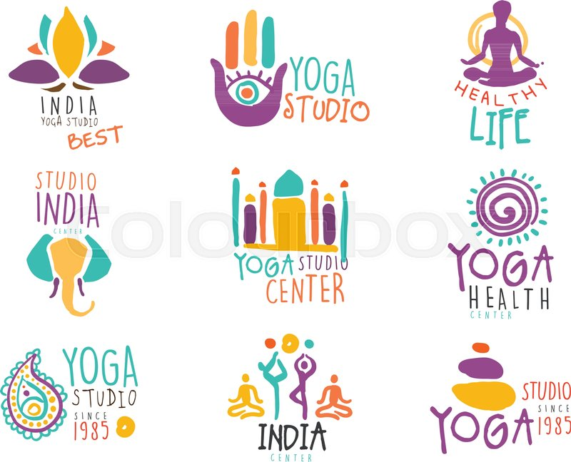 Yoga Center Set Of Colorful Promo Sign Design Templates With
