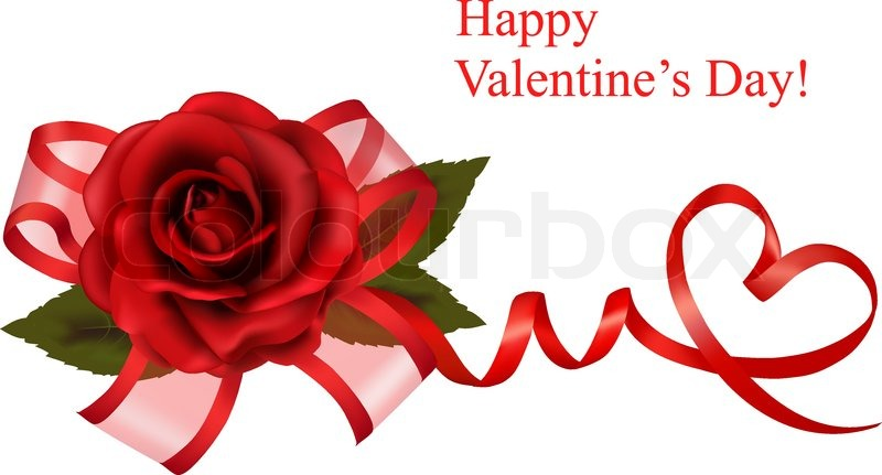 valentine`s day background. red roses and gift red bow. vector, Ideas