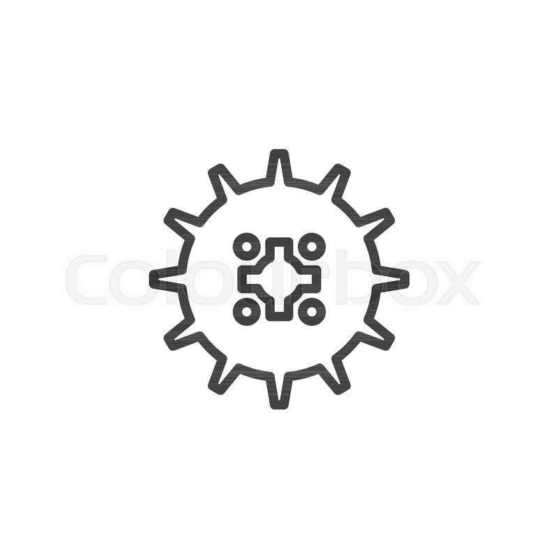 Gear Wheel Outline Icon Linear Style Sign For Mobile Concept And