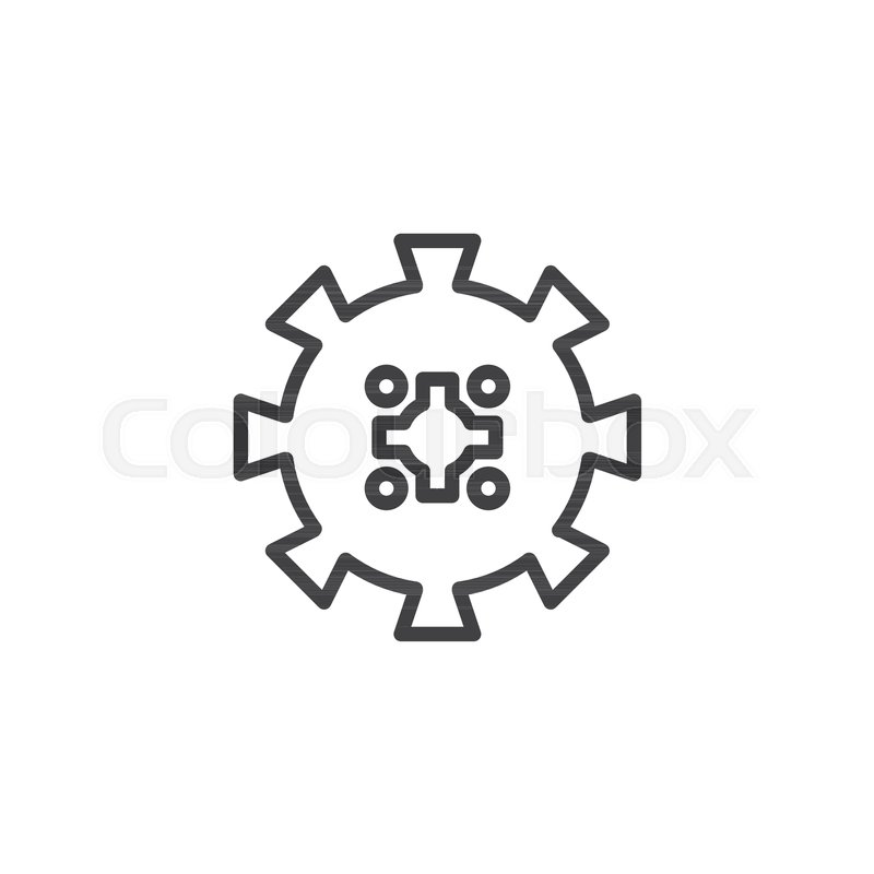 Gearwheel Outline Icon Linear Style Sign For Mobile Concept And Web
