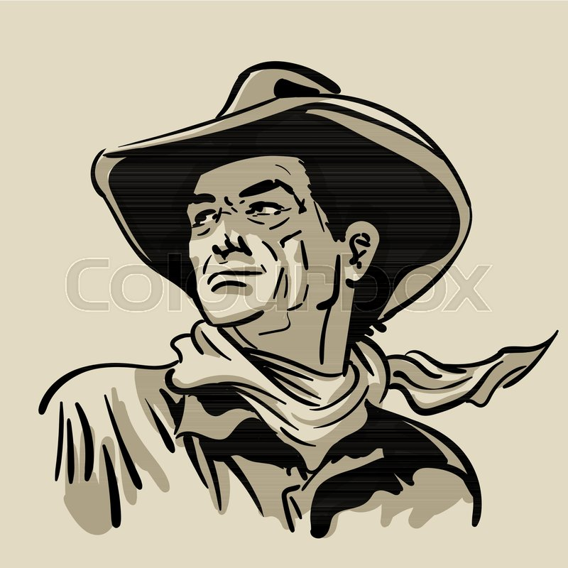 5725ad8133c Man with cowboy hat and shirt and scarf. Western. Portrait. Digital Sketch  Hand Drawing Vector. Illustration