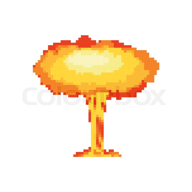 nuclear explosion pixel art large red explosive chemical mushroom 8bit stock vector colourbox. Black Bedroom Furniture Sets. Home Design Ideas