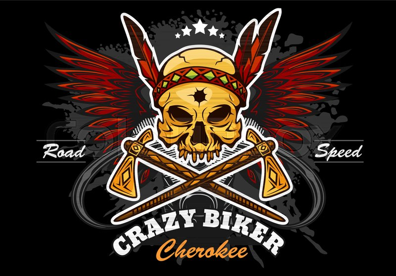 American Indian Skull Motorcycle Graphic Design Vector Emblem On