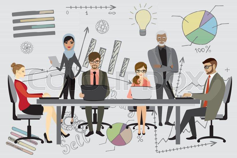 people working on computer flat style cartoon coworking or teamwork