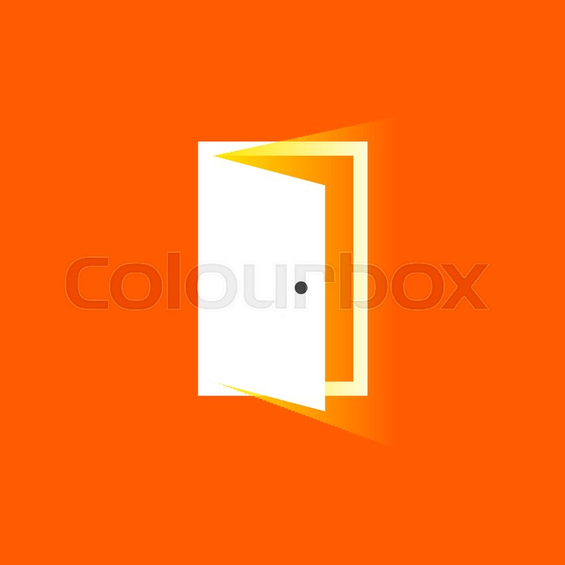 Open door icon in trendy flat style. Symbol for website design, logo ...