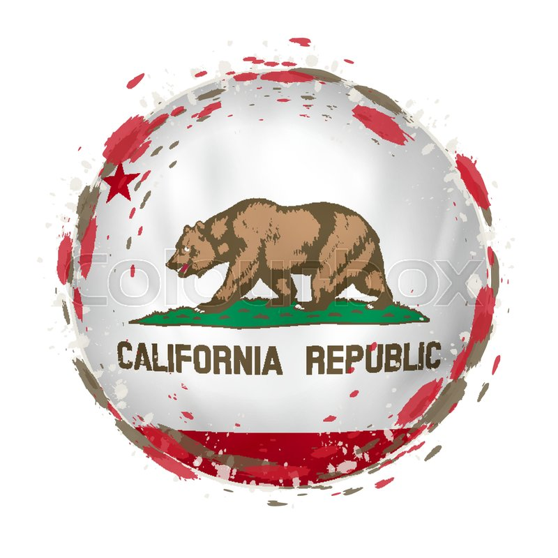 Round Grunge Flag Of California US State With Splashes In Color Vector Illustration