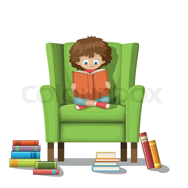 Super Child Sits On A Chair And Reads A Stock Vector Colourbox Gmtry Best Dining Table And Chair Ideas Images Gmtryco