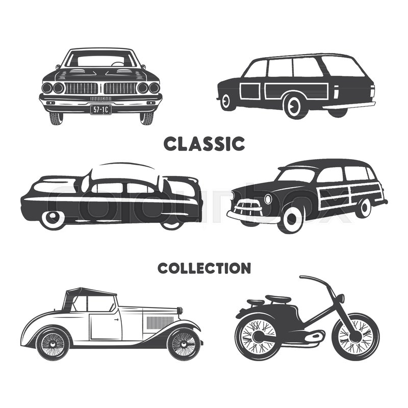 Vintage Hand Drawn Cars Muscle Motorcycle Elements Use For Logo Labels T Shirt Prints Tee Graphics Stock Vector Design Isolated On White Background