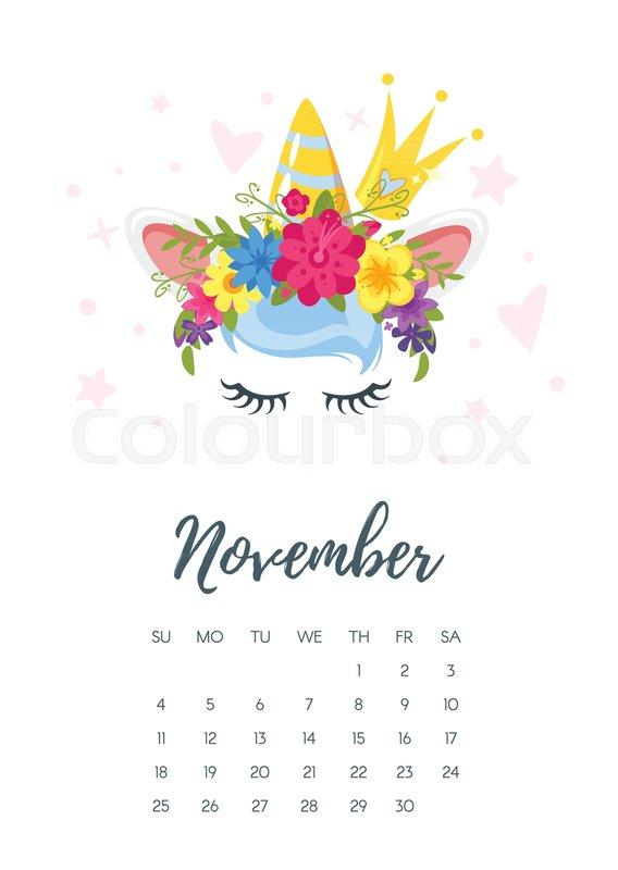 vector cartoon style illustration of november 2018 year calendar