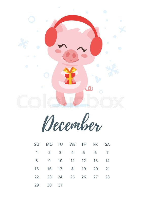vector cartoon style illustration of december 2019 year calendar page with cute pig holding christmas and new year present template for print