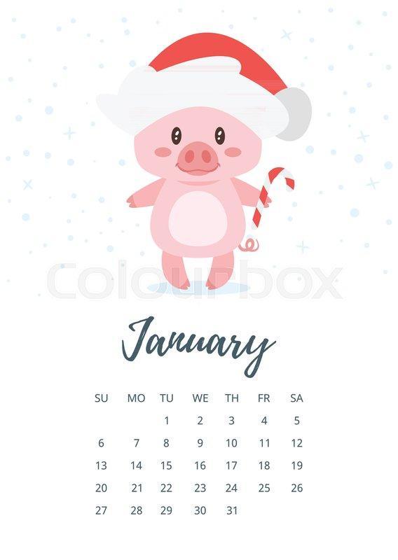 Vector cartoon style illustration of January 2019 year ...