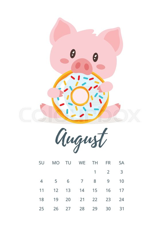 Vector Cartoon Style Illustration Of August 2019 Year