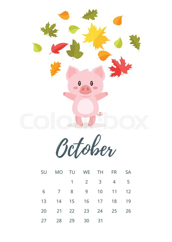 Vector Cartoon Style Illustration Of October 2019 Year Calendar Page