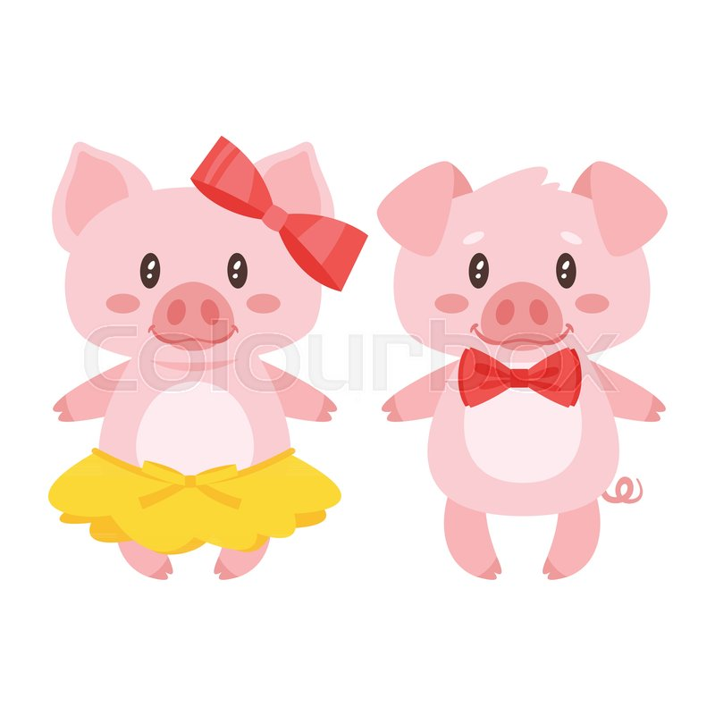 vector cartoon style illustration of cute pink pig character boy
