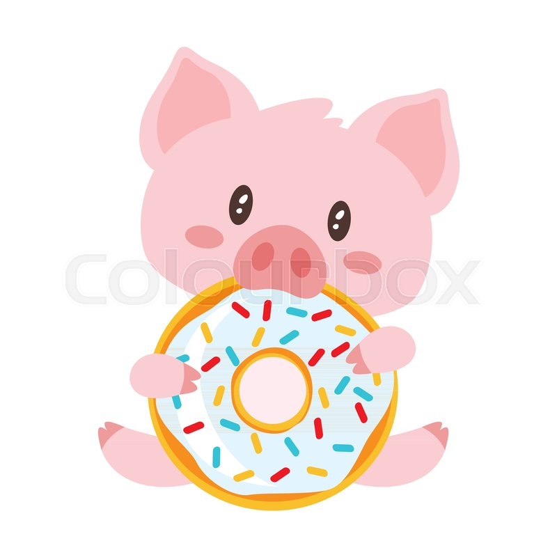vector cartoon style illustration of cute pink pig sitting and