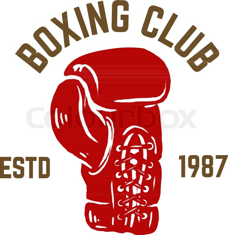 champion boxing club emblem template with boxer glove design