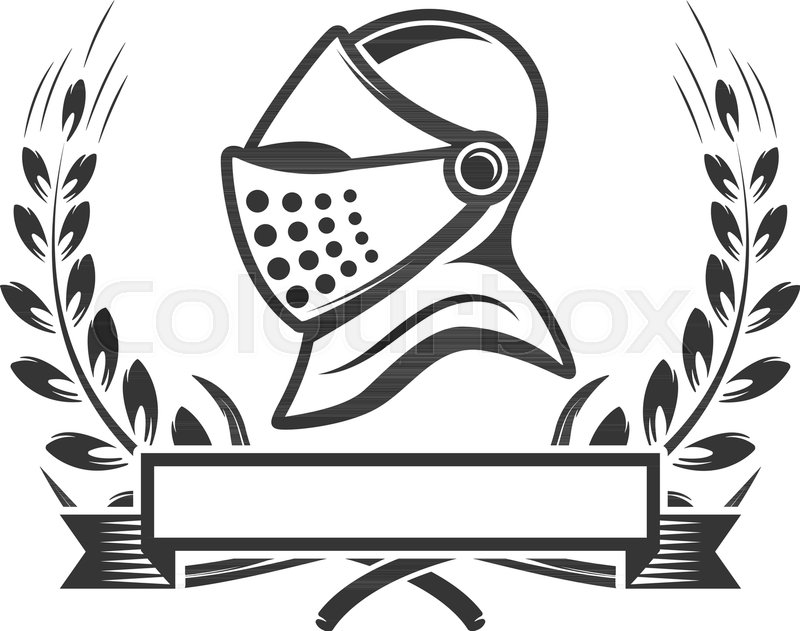 Knights. Emblem template with medieval knight helmet. Design element ...