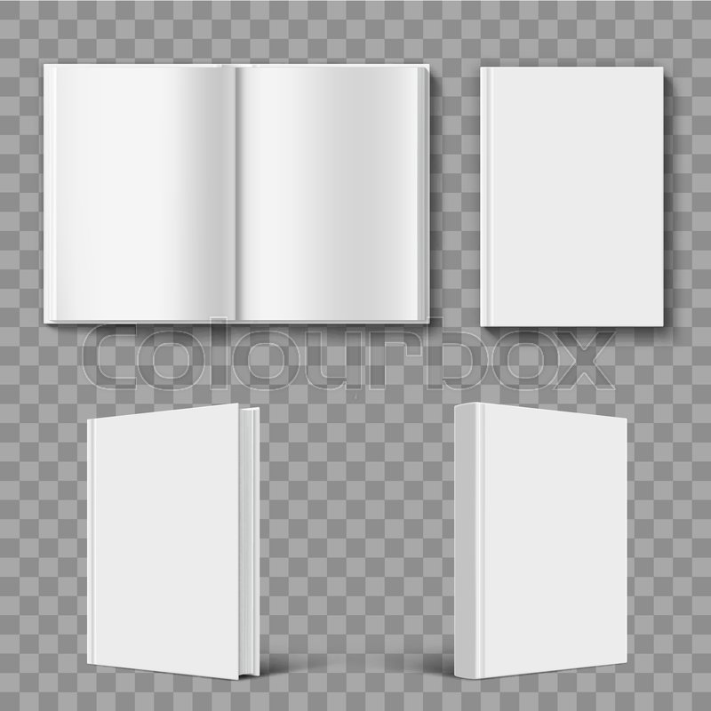 set of blank book cover template isolated on transparent background