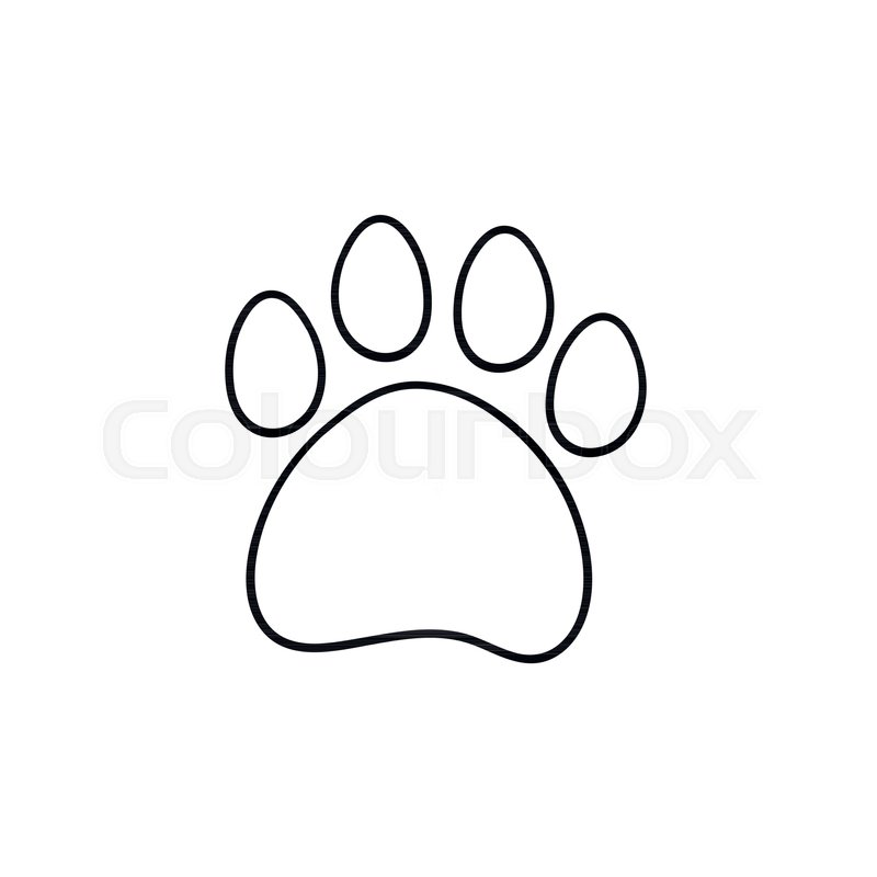 Attractive Paw Print Hand Drawn Outline Doodle Icon. Bear Paw Print Vector Sketch  Illustration For Print, Web, Mobile And Infographics Isolated On White  Background.