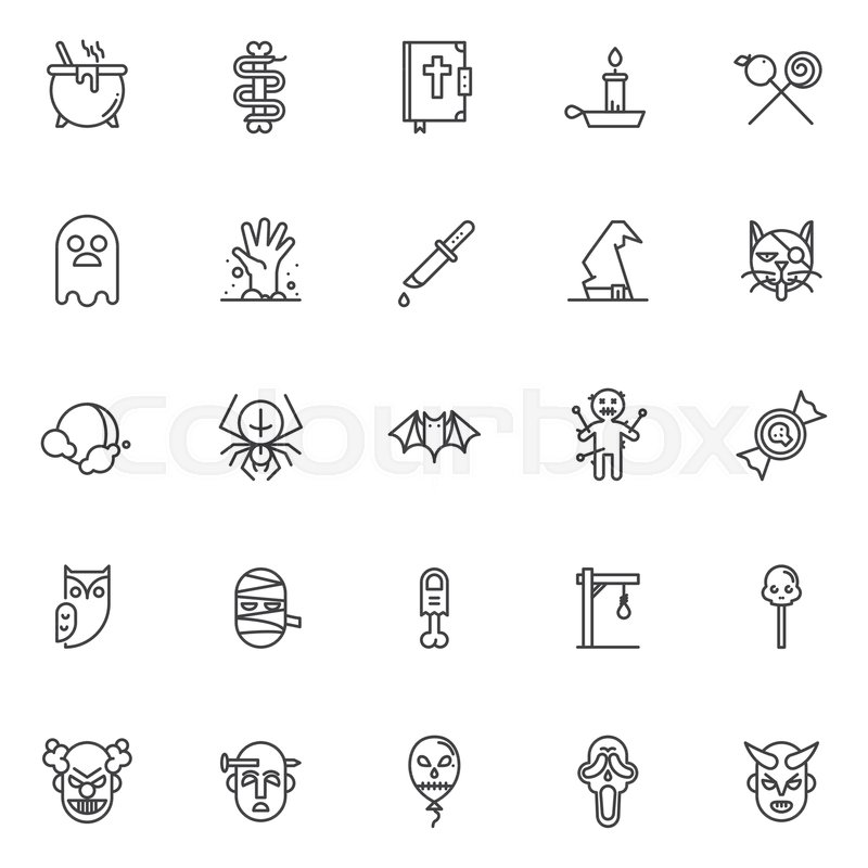 Halloween Costume Outline Icons Set Linear Style Symbols Collection
