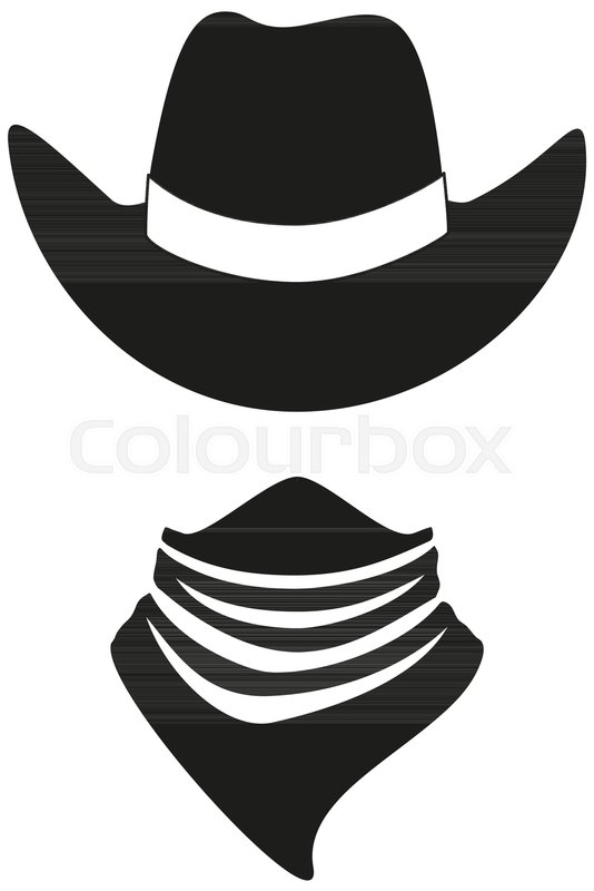 Black and white cowboy avatar silhouette. Hat and bandana scarf. Wild west  vector illustration for gift card certificate sticker 198397ed09d5